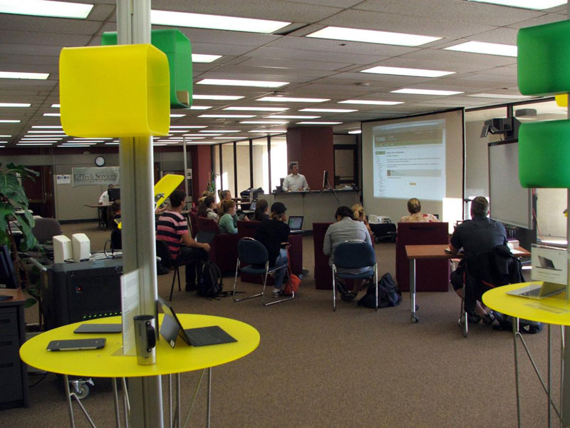 Education Learning Commons with students during a presentation