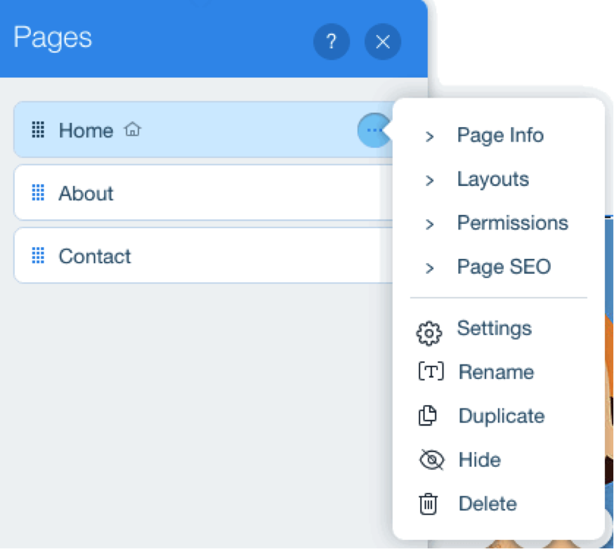 Wix pages menu (page info, layouts, permissions, settings etc.)